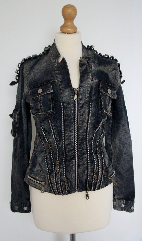 Detalle de cremallera del dril de algodón reciclado Dieselpunk chaqueta con bolsillo y Metal Popper decoración tamaño Reino Unido U.S. 10-12 6-8