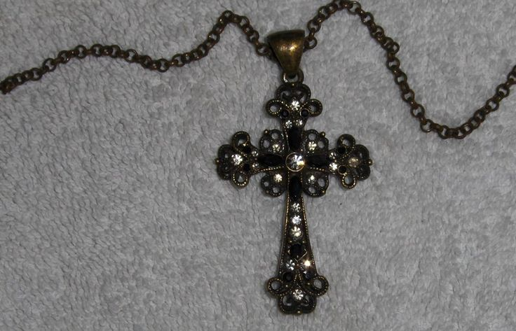 Lia Sophia Cross Necklace Black, Clear Rhinestones Antique Bronze Finish Pendant #LiaSophia #Pendant