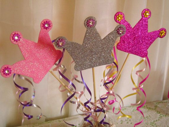 Perfect centerpiece!!    3 Glitter Crown Spikes Princess party by FunburstPartyandGift, $8.00
