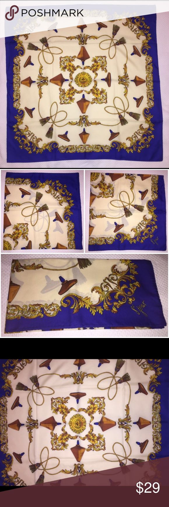 """Vintage 8e Jour Perfume Yves Rocher Italian Scarf Yves Rocher 8e Jour Perfume Print Designer Italian Scarf. Colors: Royal Blue, Cream, & Gold. Measures: 35"""" x 35"""". Material: Polyester (made in Italy). Brand New In Package! Yves Rocher Accessories Scarves & Wraps"""