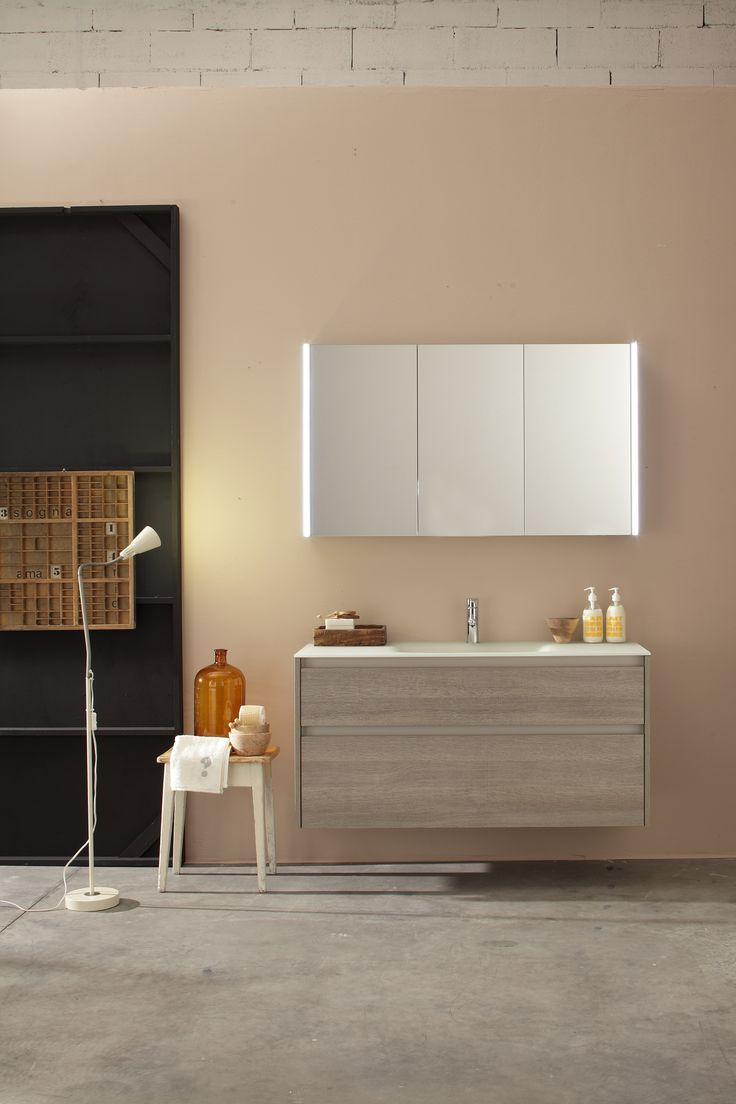 Kami cabinets and sink from Mastella. Endlessly customizable, the perfect addition to any bathroom.