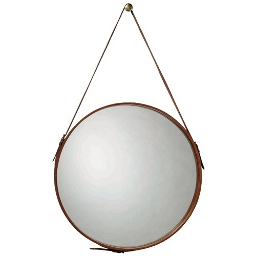 Jamie Young Round Leather Large Mirror