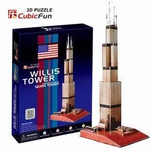 Candice guo! 3D puzzle toy CubicFun 3D paper model jigsaw game US Willis tower sears tower