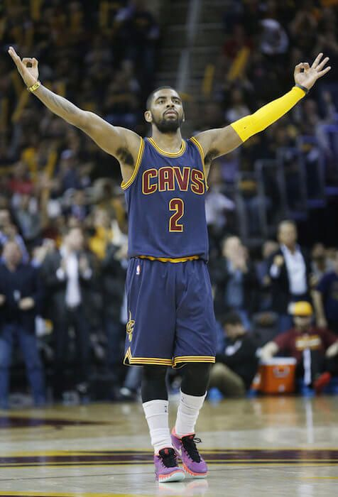 Basketball player from Australia, Kyrie Irving after scoring a point...