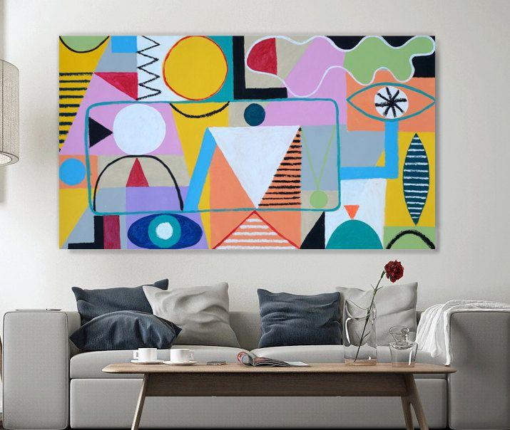 Resumen original pintura Resumen #4 por Evan Gherman, 2013 este colorida abstracta geométrico la pintura de acrílico es sobre un lienzo de Galería envuelta y los lados son de color blancos.  Colores: Rosa, azul, amarillo, negro, gris, morado, naranja, verde  Material: Lona sin estirar, acrílica, óleo.  Tamaño: 31 1/2 H x 56W en   SOBRE ARTISTA EVAN GHERMAN  Nació en 1978. Vive y trabaja en Nueva York. El artista trabaja en los estilos de la pintura abstracta, minimalismo y pintura del campo…