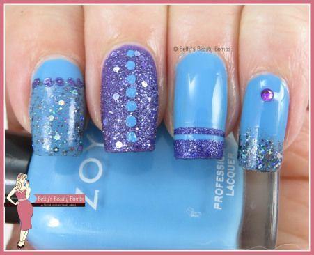 http://www.bettysbeautybombs.com/2015/05/20/blue-and-purple-skittle-nail-art/ / Skittle nail art