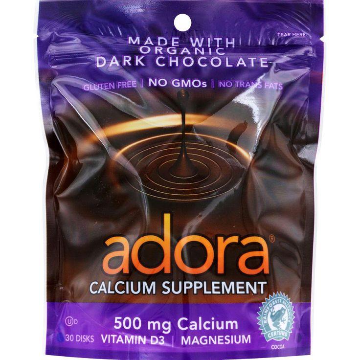 Adora Calcium Supplement Disk - Organic - Dark Chocolate - 30 ct - 1 Case