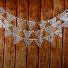 12 Flags -3.2M Lace Fabric Banners Personality Wedding Bunting Decor Vintage Party Birthday Baby Show Garland Decoration(China (Mainland))