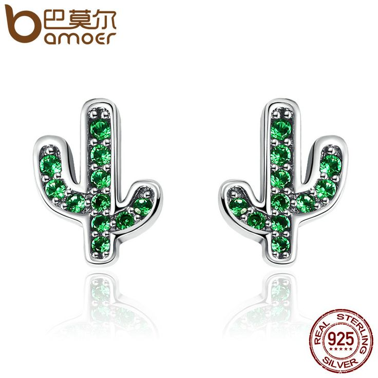 BAMOER Hot Sale 925 Sterling Silver Dazzling Green Cactus Crystal Stud Earrings for Women Authentic Silver Jewelry Bijoux SCE097 //Price: $5.95 & FREE Shipping //     #hashtag3