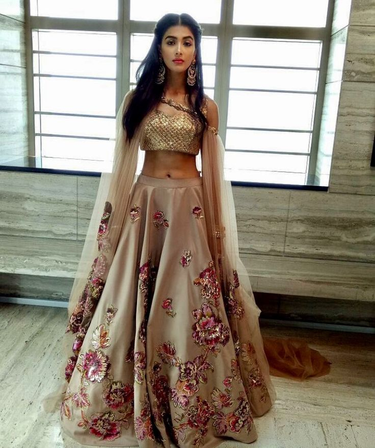 Beige Flowery Lehenga Choli | Modern & Chic Design | Pinned by Pawan