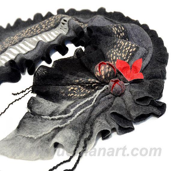 NEW Felted scarf 3D ART made from wool and silk Dark от RudmanArt