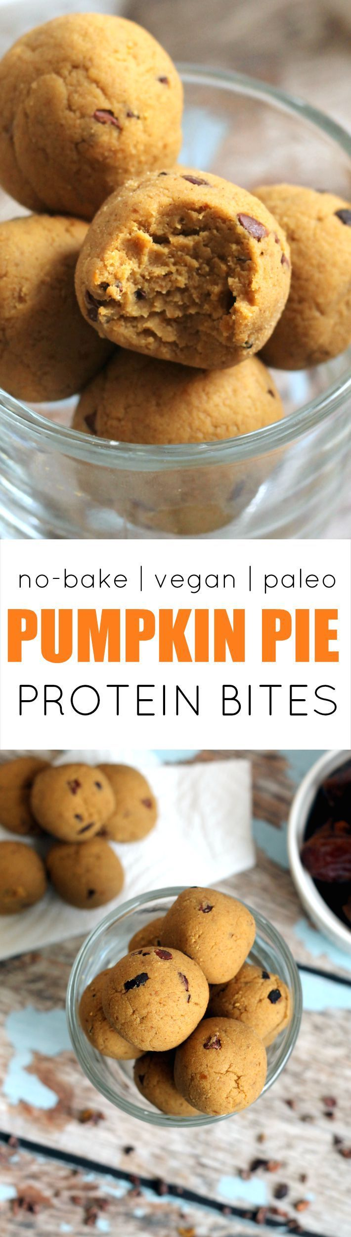 These easy, cakey Pumpkin Pie Protein No-Bake Bites have the flavor of pumpkin pie, but are secretly packed with protein and fiber! Vegan, gluten-free, paleo, and kid-friendly.