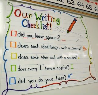 Great first grade checklist/anchor chart to remind students what they need in their writing: