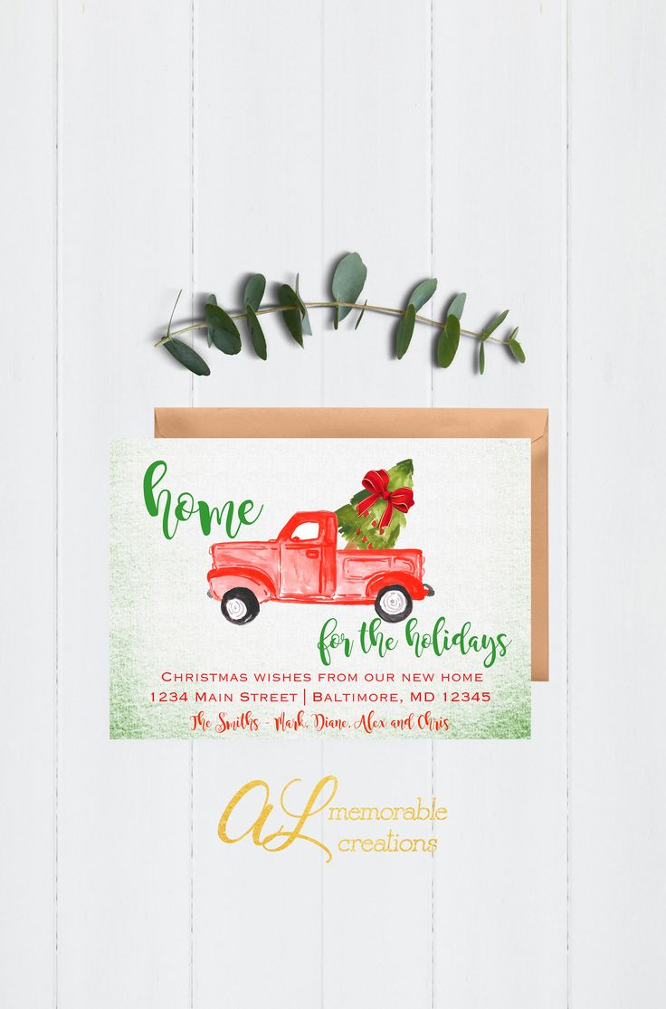Holiday Address Change Announcement, Red Truck Home for the Holidays Moving Announcement, We've Moved Card, Address Change Card, Christmas by ALMemorableCreations on Etsy