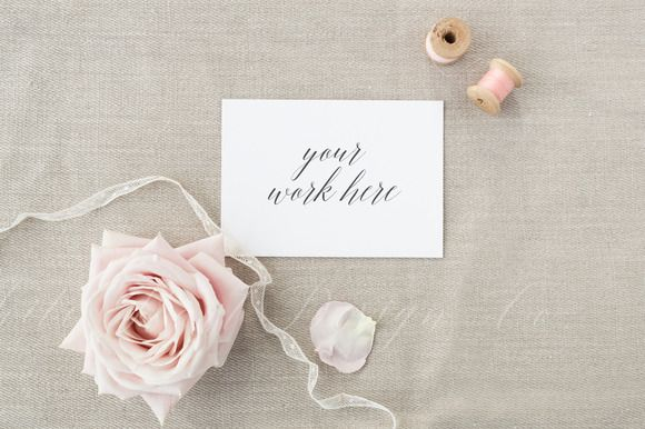 Wedding card invitation mock up by White Hart Design Co. on @creativemarket