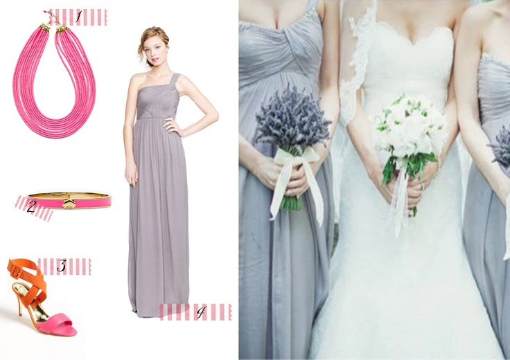 Light grey bridesmaid dress with pink and orange accessories