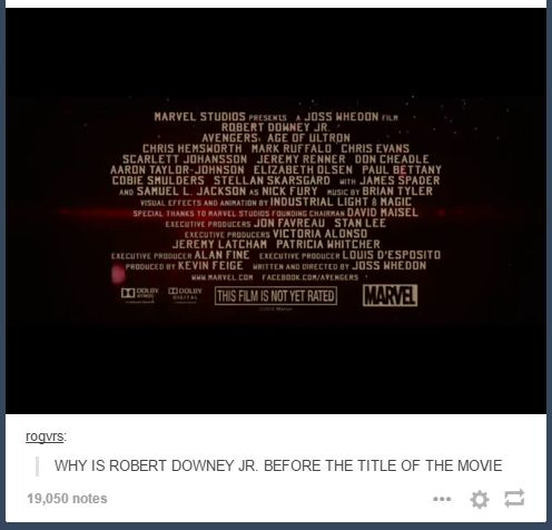 """WHY?? #aou #rdj <---Someone commented saying """"He's Tony Stark and he hacked the credits to prove it."""" and I have to agree."""