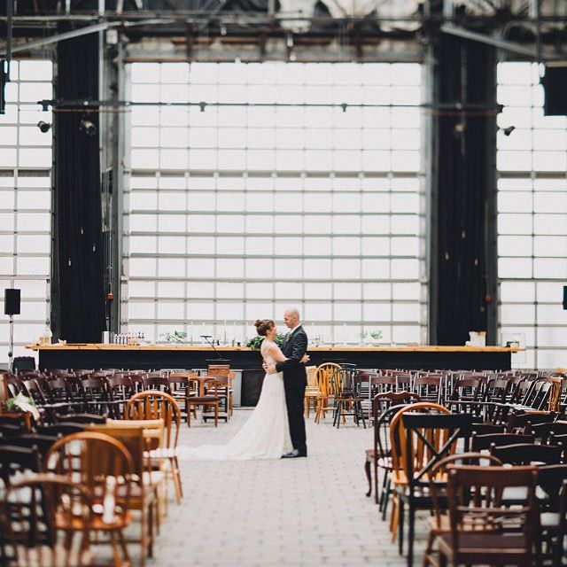 super cool warehouse space in Columbus, Ohio made a gorgeous wedding ceremony space!  ~  we ❤ this! moncheribridals.com