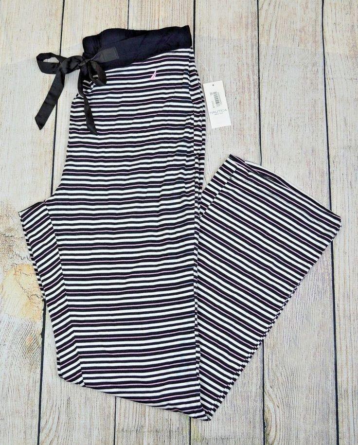 Nautica Womens Pajama Pants Lounge PJ Drawstring Stripe Black White Pink Large L #NauticaSleepwear #AnklePajamaPantsLoungePJ #Everyday
