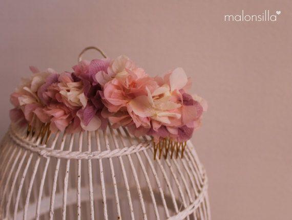 Tocado VIRGINIA peineta flores preservadas por malonsilla en Etsy