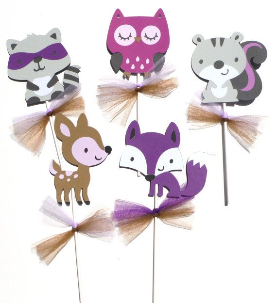 Woodland Girl Forest Animal Purple Themed Party Centerpiece Sticks Set of 5 Baby Shower or Birthday Party