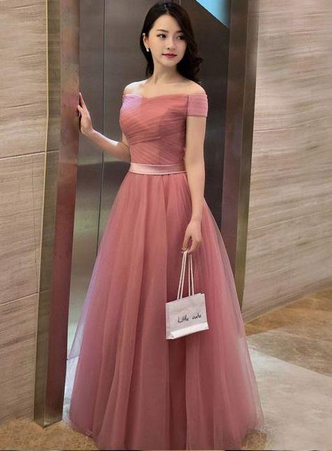 Little Cute Elegant Pink A Line Off Shoulder Tulle Long