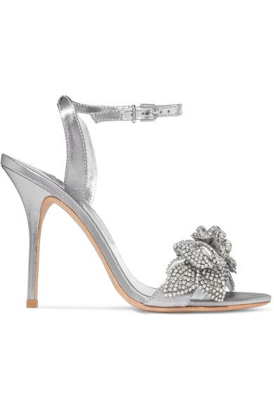 Heel measures approximately 100mm/ 4 inches Silver lamé Buckle-fastening ankle strap ImportedSmall to size. See Size & Fit notes