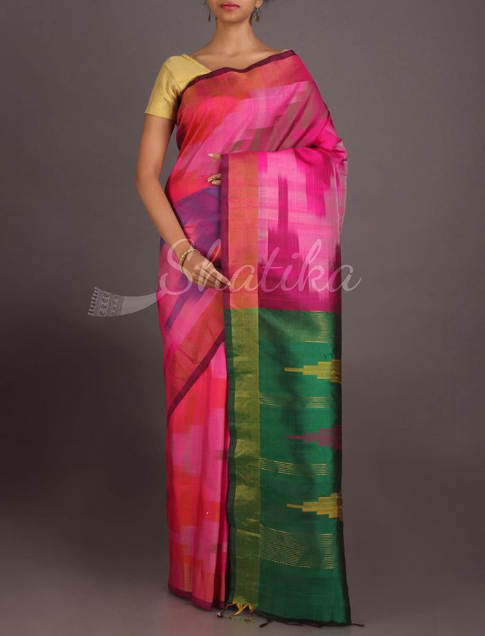 Deepti Splash Of Colors Contrast Pallu Pure #IkatSilkSaree
