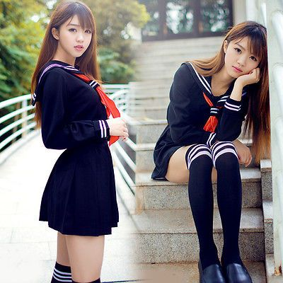 Japonés Japón Escolar Niña Manga Larga Azul uniforme Cosplay Disfraz new-t104
