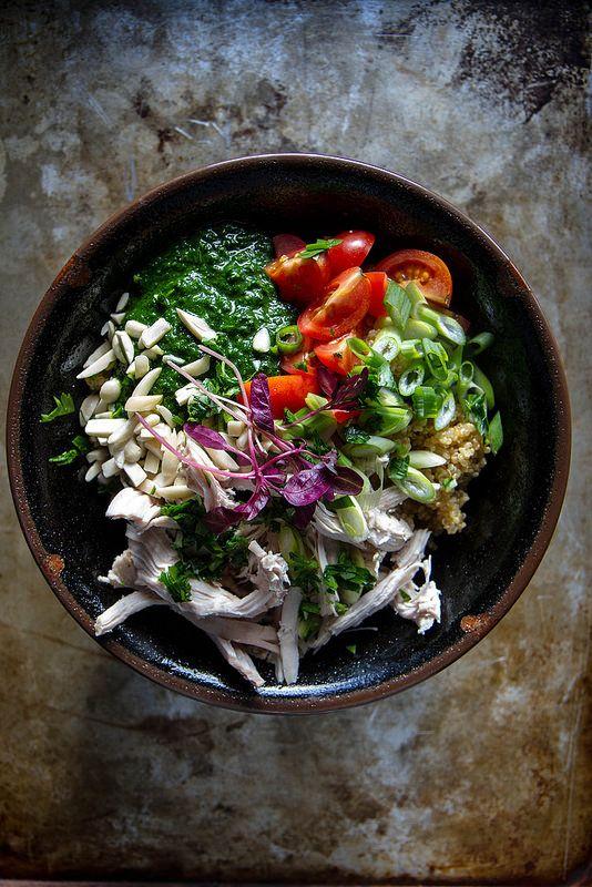 Quinoa, Chicken and Kale Pesto Bowl