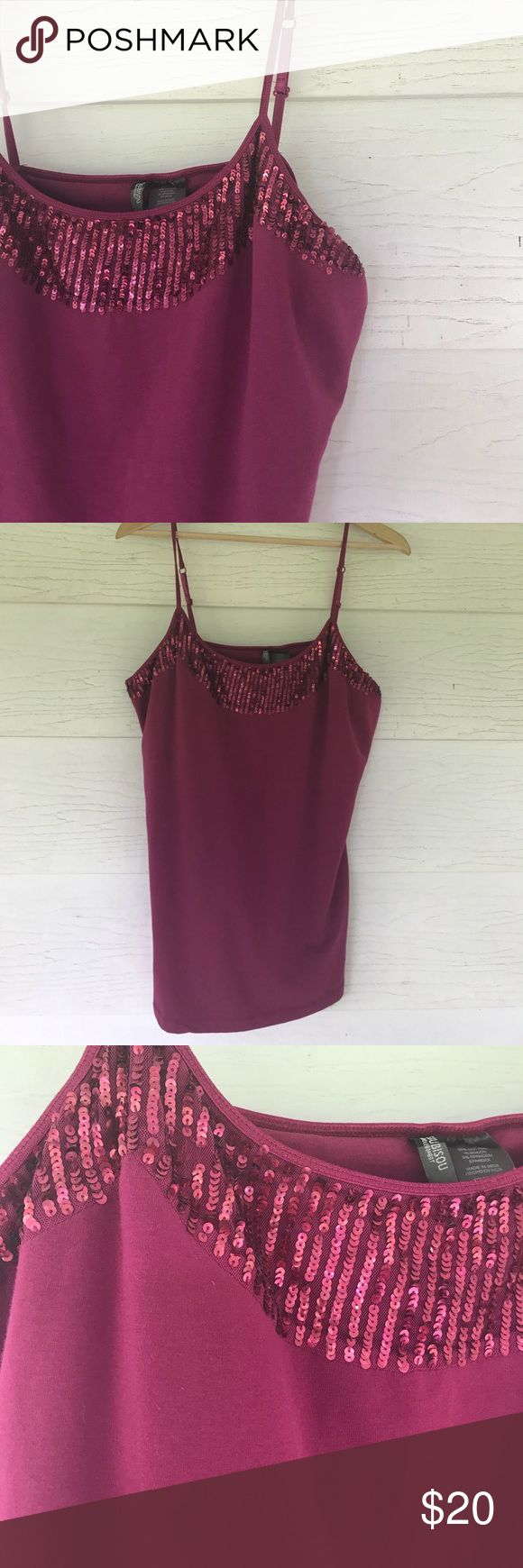 Raspberry tank NWT Beautiful sequin detail at neckline. New with tags. Size xl. Bisou Bisou Tops Tank Tops