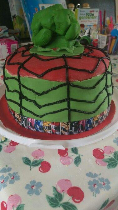 Hulk, spiderman, power ranger birthday cake