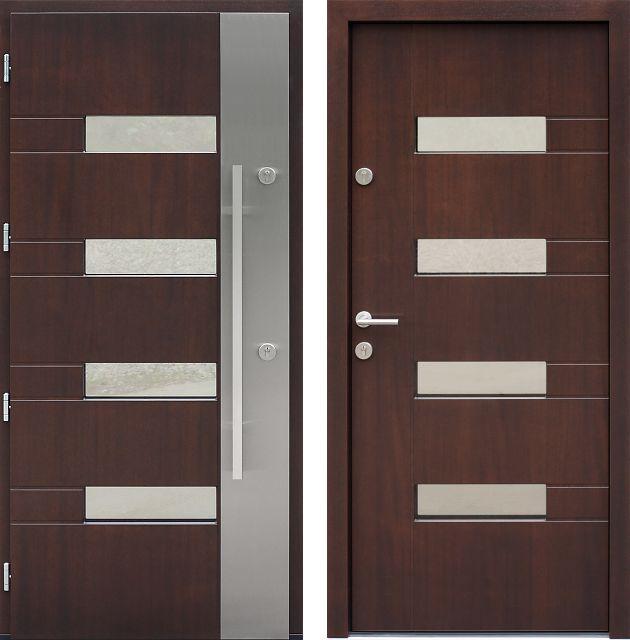 Drzwi wejściowe z aplikacjamii ze stali nierdzewnej inox wzór 419,1-419,11 orzech