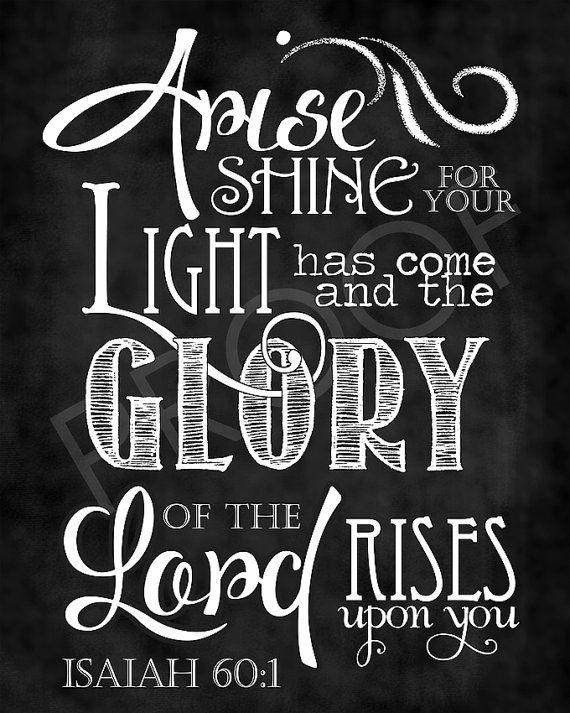 Scripture Art  Isaiah 60:1 Chalkboard by ToSuchAsTheseDesigns