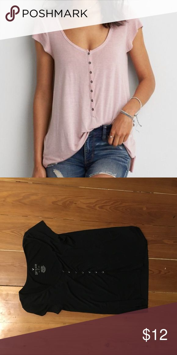 American eagle black soft and sexy Henley. Black American eagle soft and sexy Henley. Super soft and super cute. It is black not pink, the cover photo is pink because it was the only picture I could find of the model wearing it.❤️❤️❤️ American Eagle Outfitters Tops Tees - Long Sleeve