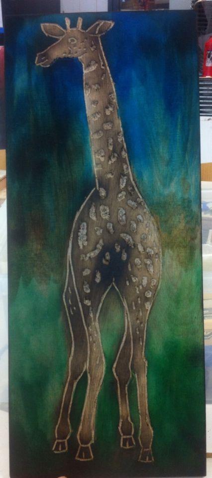Giraffe - ecoline op hout