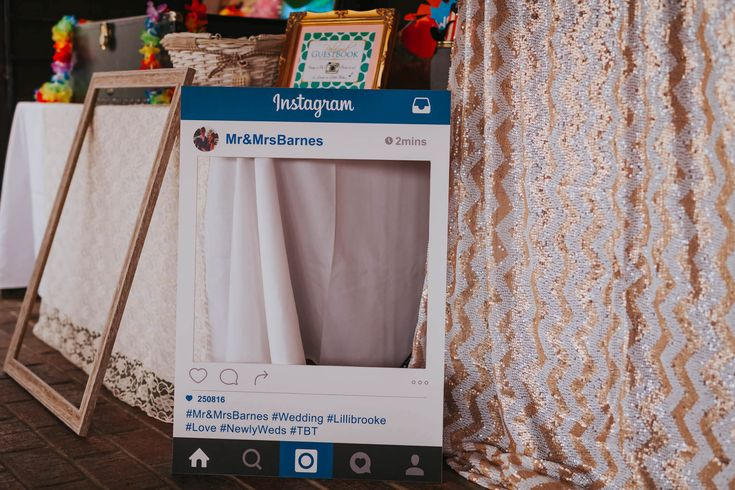I'm loving these Instagram frames for your guests to pose with. Photo by Benjamin Stuart Photography #weddingphotography #instagram #photobooth #weddingfun #weddingreception #partyideas #weddingideas