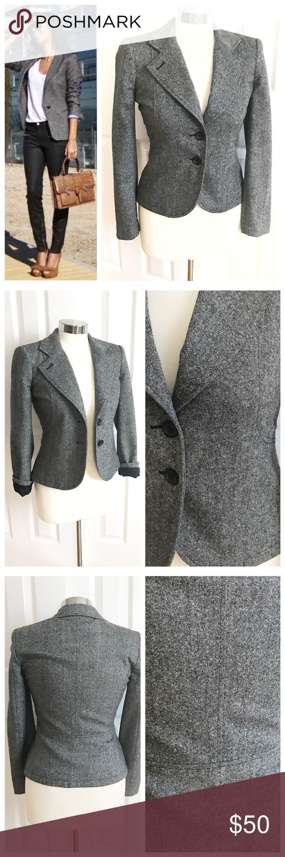 French Connection Gray Blazer Dark gray blazer / jacket, lining black that can be seen when you roll up the cuffs. Buttons are black. No pockets. Sleek look! French Connection size 2. Also could work for a 4 petite. 52% virgin wool, 20% polyester, 16% polyamide, 10% silk, 2% elastane. Lining 100% acetate. Dry clean only. Great staple piece for your wardrobe! Nice transition piece from winter to spring! First photo on left not actual item just showing for styling! French Connection Jackets…