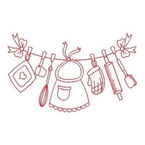 redwork kitchen embroidery design - Bakers Gonna Bake Kitchen Redwork Embroidery Designs