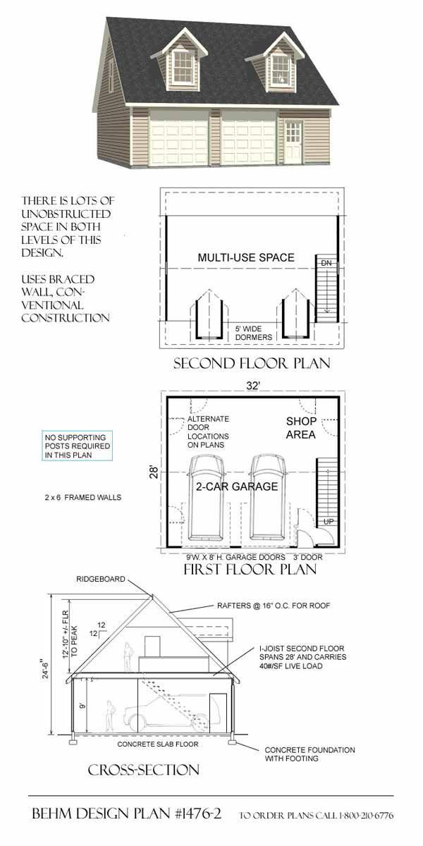 Garage With Loft Plans - 1476-2 by Behm Design