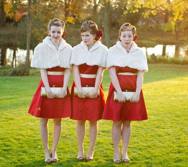 Christmas Winter Wedding Short Red Bridesmaid Dresses