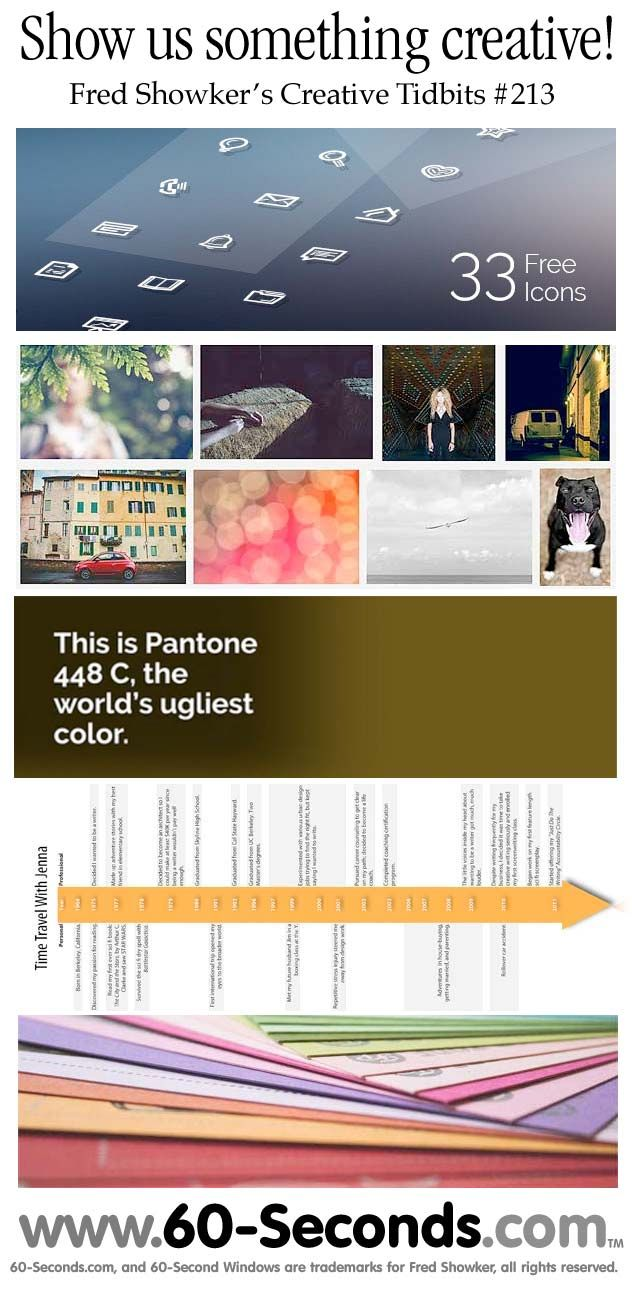 Yes, my latest 60-Seconds Creative Update includes a new #Pantone #app for #designers  and color enthusiasts  *** The World's Ugliest #Color  *** #Free Stuff  *** InfoTrends Study  *** Hefalo #Script ~ fresh and fun! *** Time Travel with Jenna . . . it's the kickoff of the 22nd Annual Fonts Festival . . . . #fonts #typography #lettering #calligraphy #60-Seconds #60seconds