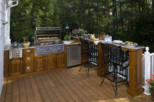 wood decks | Wooden deck outdoor kitchen with wood kitchen island combined by ...
