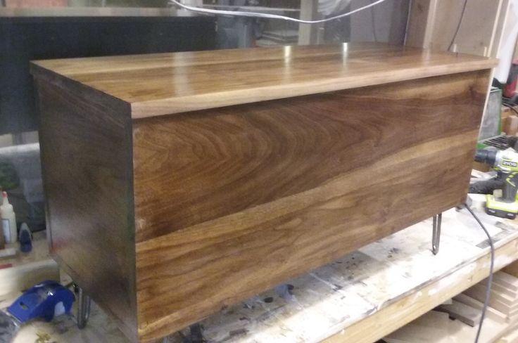 Black walnut modern storage bench.