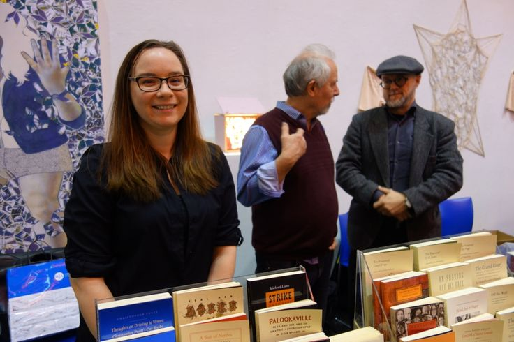 Stephanie Small, Tim Inkster and George A. Walker at the OCADU Book Arts Fair, December 10, 2016. Photo by Don McLeod.