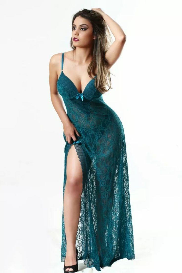 camisola longa sensual  em renda - lingerie feminina