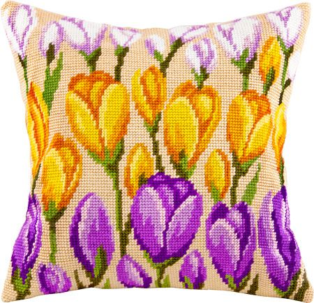 Crocus pillowcase cross stitch DIY embroidery kit, needlework