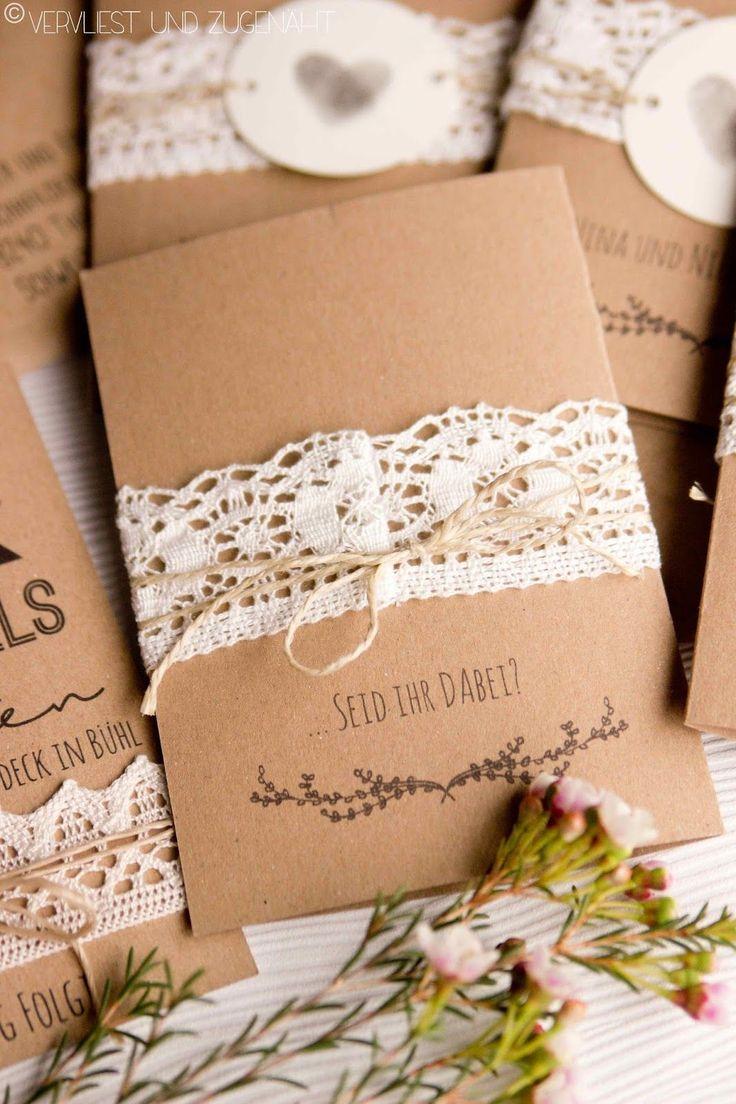 Hochzeitseinladung aus Kraftpapier {Freebie + Font Tips}