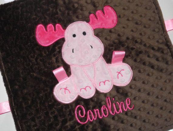 Personalized Baby Blanket Pink Moose Tag Blanket Custom