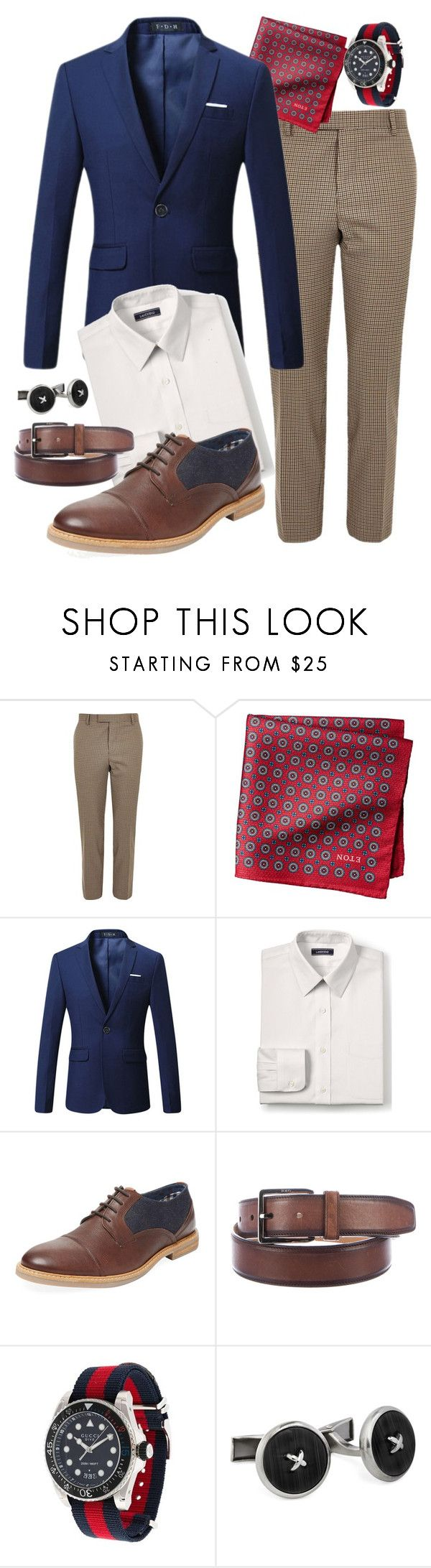 """Suit Without a Tie: Look 3"" by duesouthstyle on Polyvore featuring River Island, Lands' End, Ben Sherman, Tod's, Gucci, Hart Schaffner Marx, men's fashion and menswear"